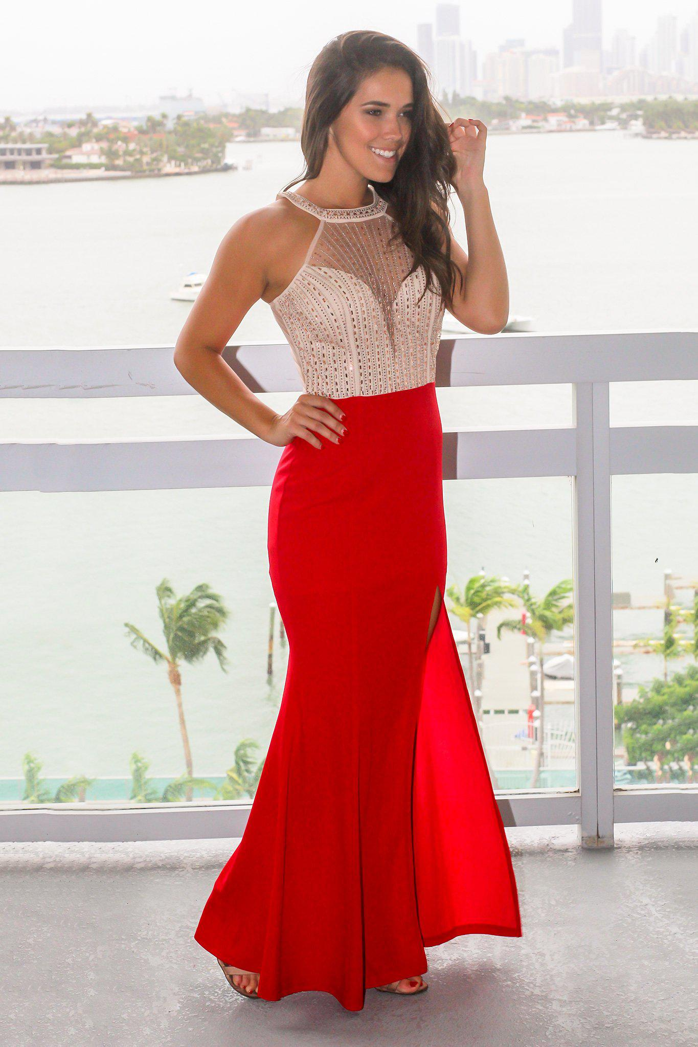 Red Maxi Dress with Jeweled Halter Top