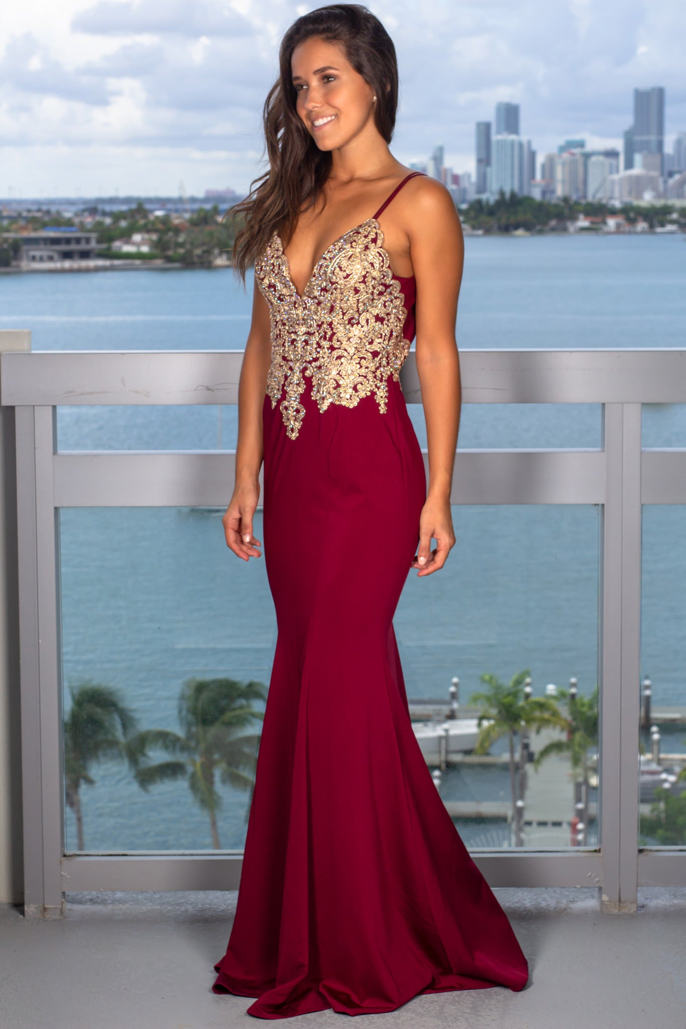 Red Maxi Dress with Jeweled Top