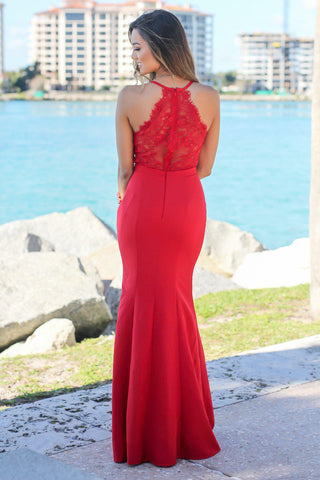 Red Maxi Dress with Lace Back