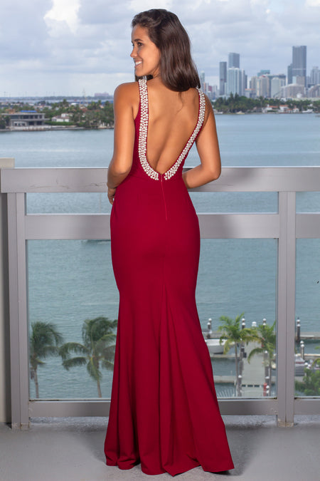Red Maxi Dress with Open Back and Pearl Detail