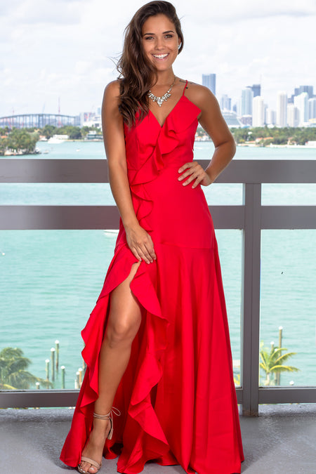 Red Maxi Dress with Ruffles and Side Slit