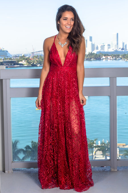 Red Maxi Dress with Sequins
