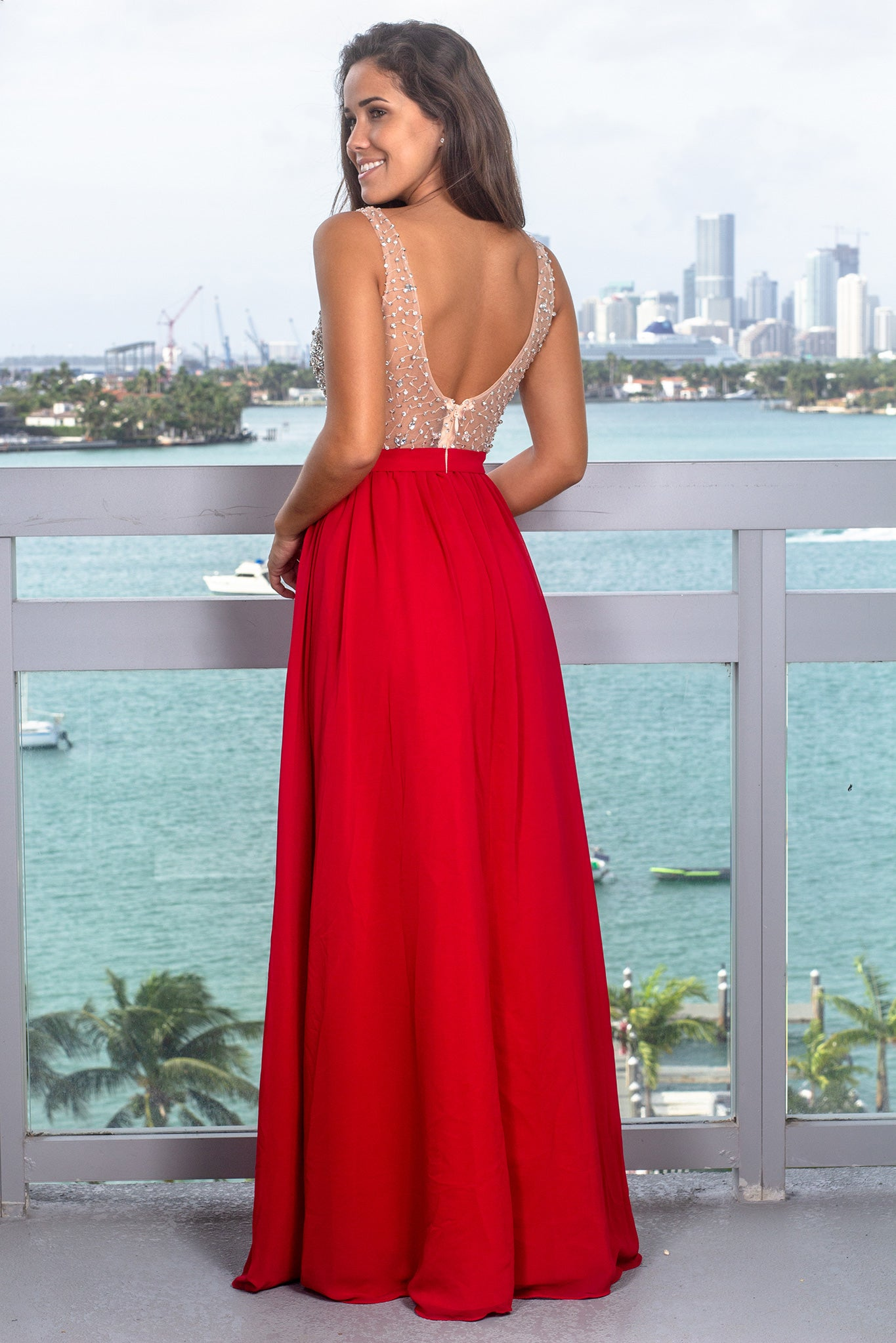 Red Maxi Dress with Silver Jewels