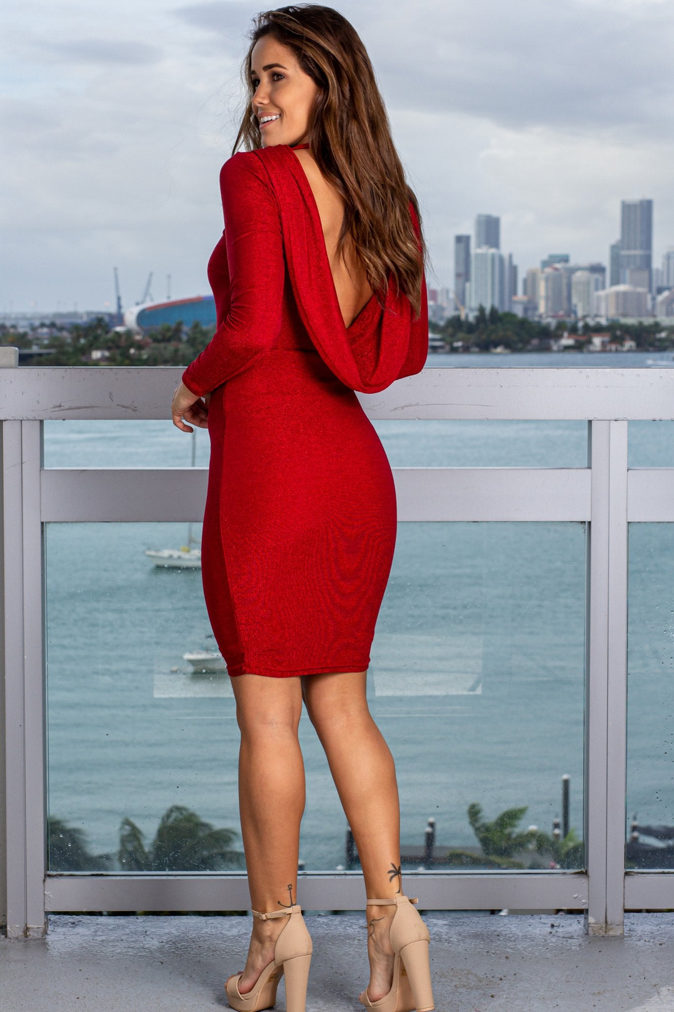 Red Midi Dress with Draped Back