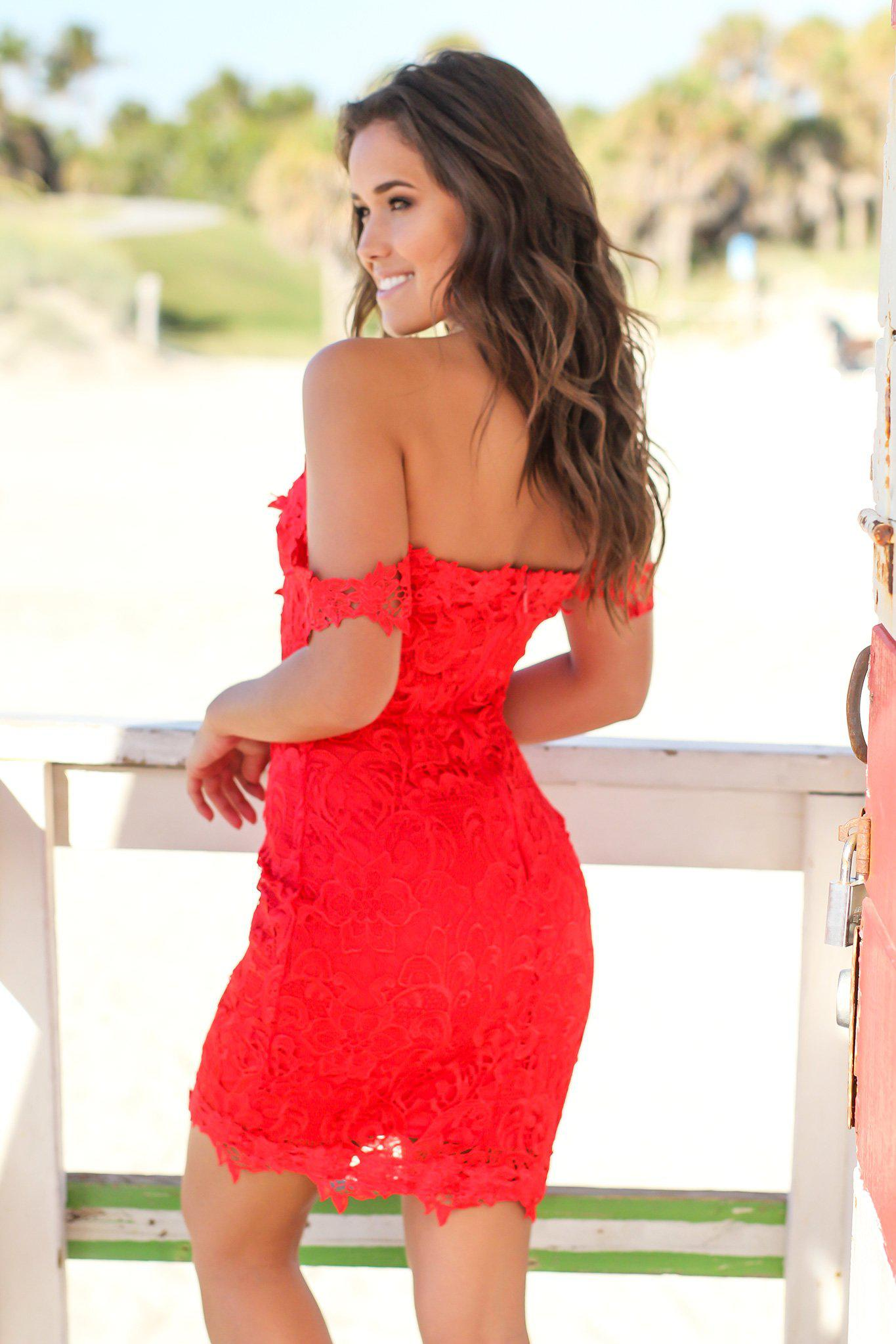 Red Off Shoulder Crochet Short Dress with Mesh Detail
