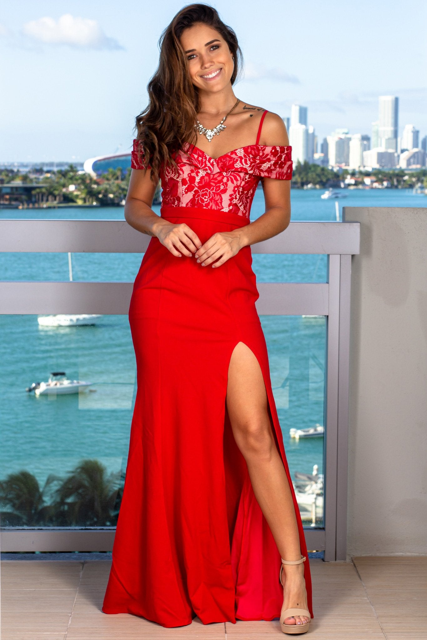 Red Off Shoulder Maxi Dress with Lace Top