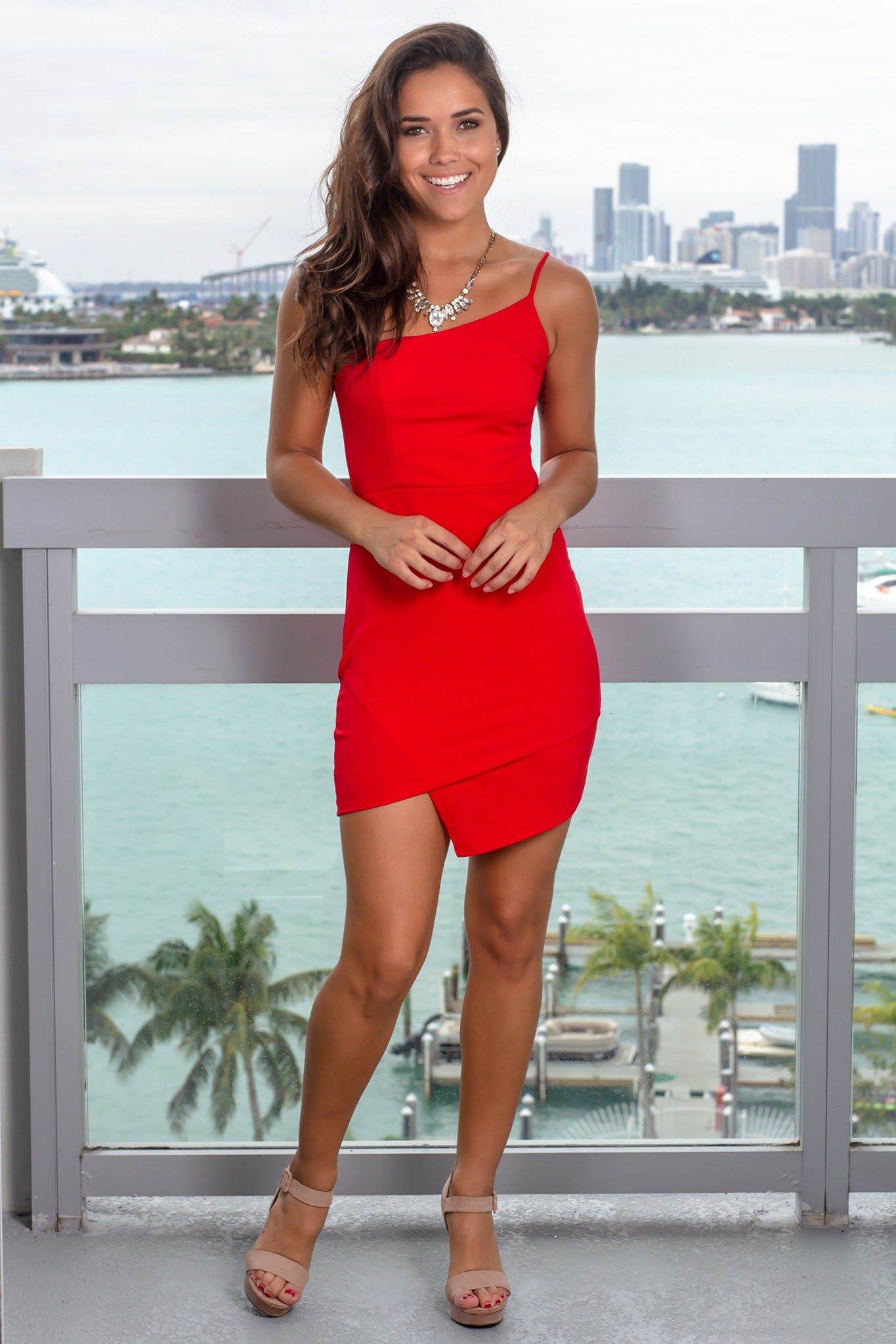 Red One Shoulder Asymmetrical Short Dress