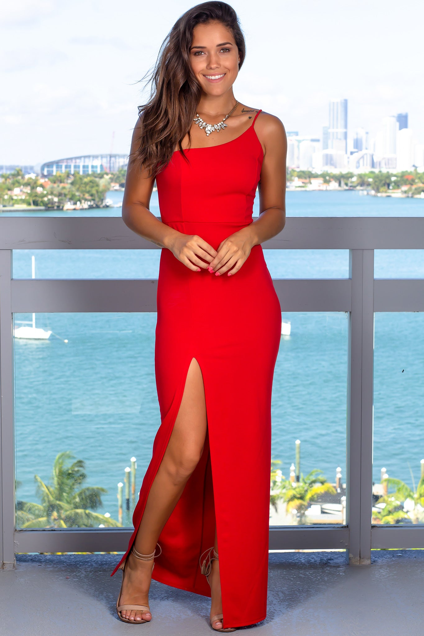 Red One Strap Maxi Dress