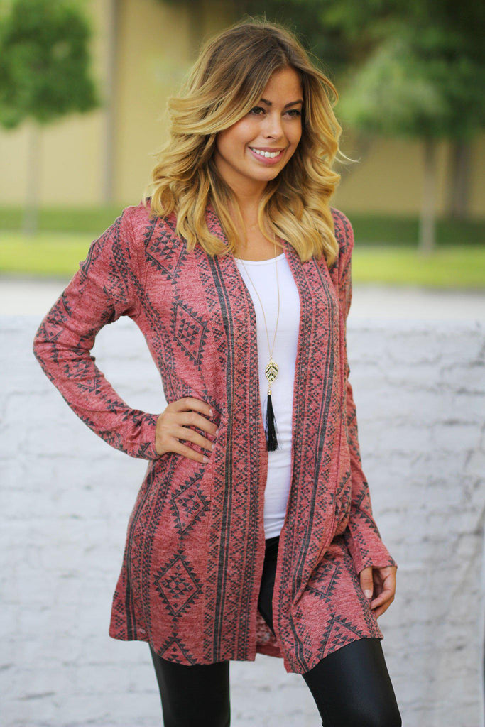red open cardigan with geometric print