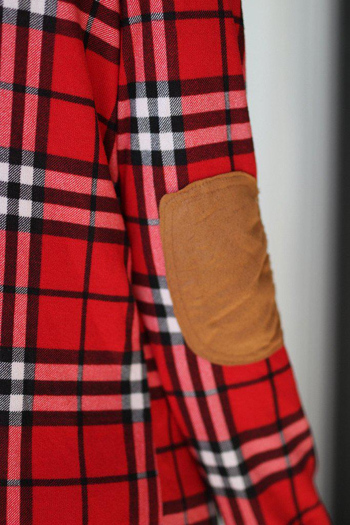 Red Plaid Cardigan With Elbow Patches