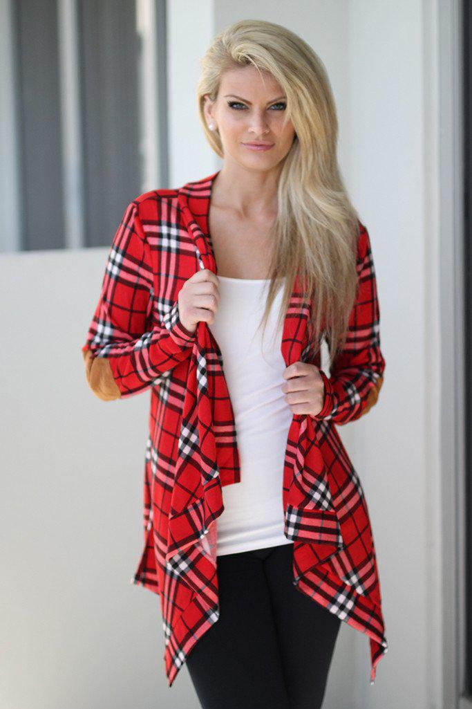red open front cardigan - Red Plaid Cardigan With Elbow Patches Red Cardigan – Saved By
