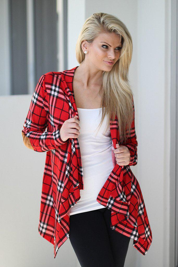 red plaid cardigan with elbow patches - Red Plaid Cardigan With Elbow Patches Red Cardigan – Saved By