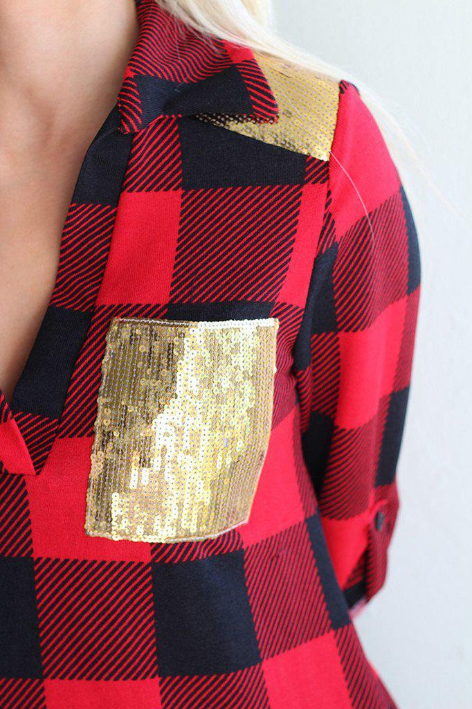 plaid shirt with gold sequin pocket