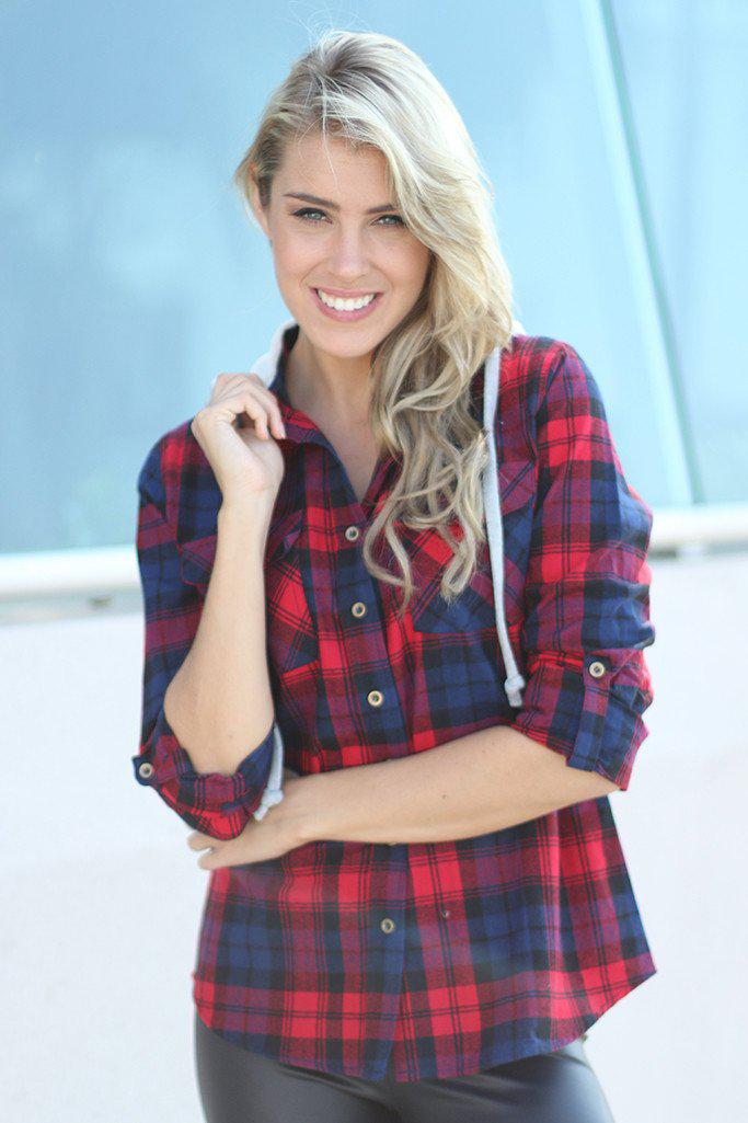 Red Plaid Top With Hoodie