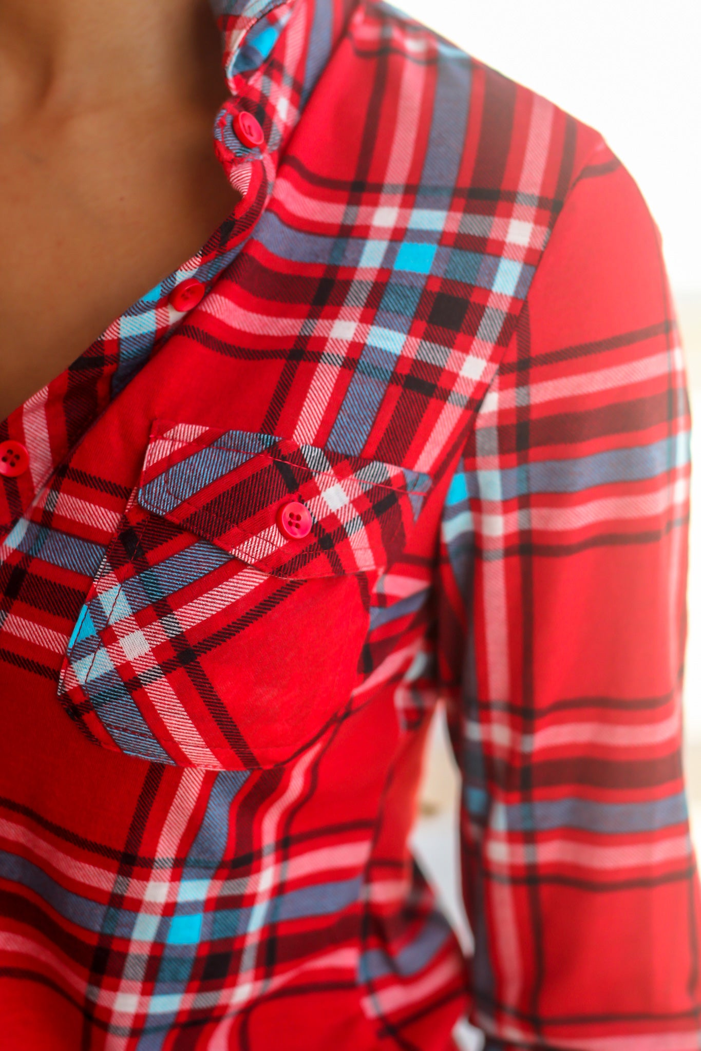 Red Plaid Top with Pockets