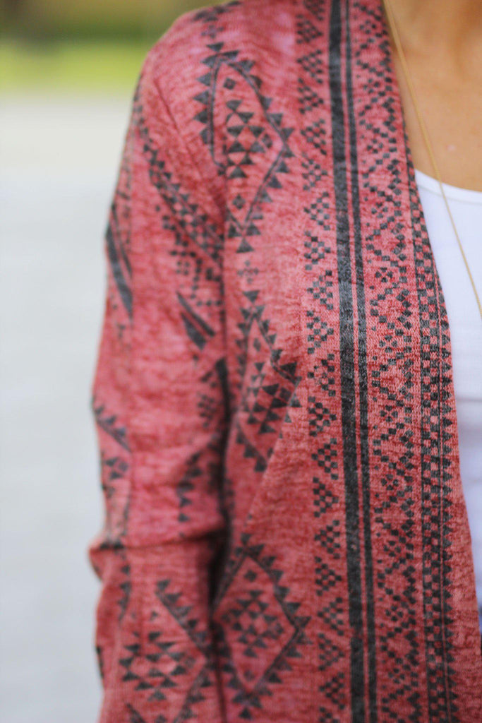red printed cardigan
