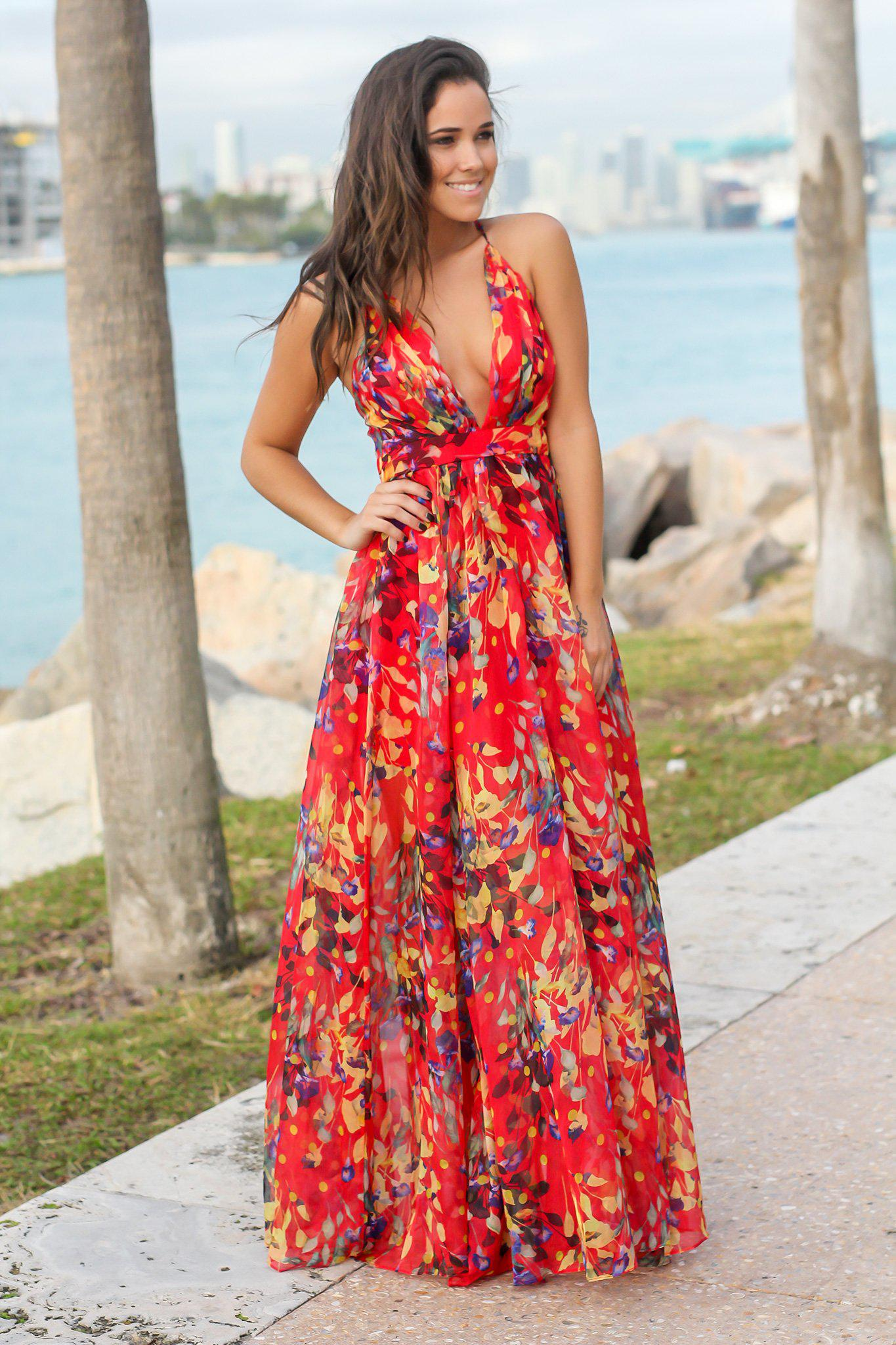 6f097bde150222 Red Printed Maxi Dress with Criss Cross Back