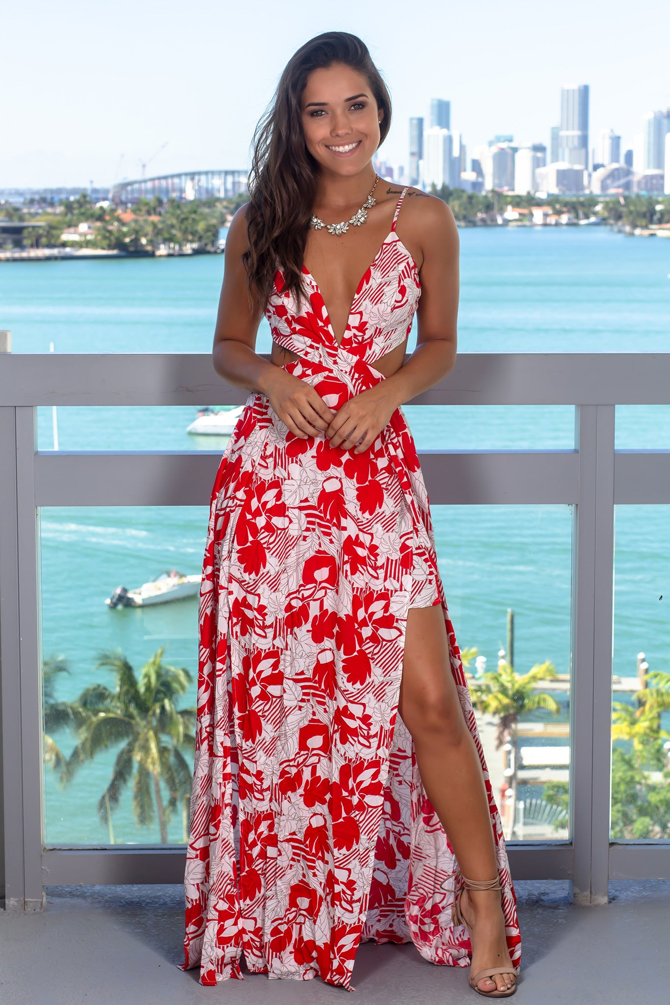 Red Printed Maxi Dress with Cut Outs