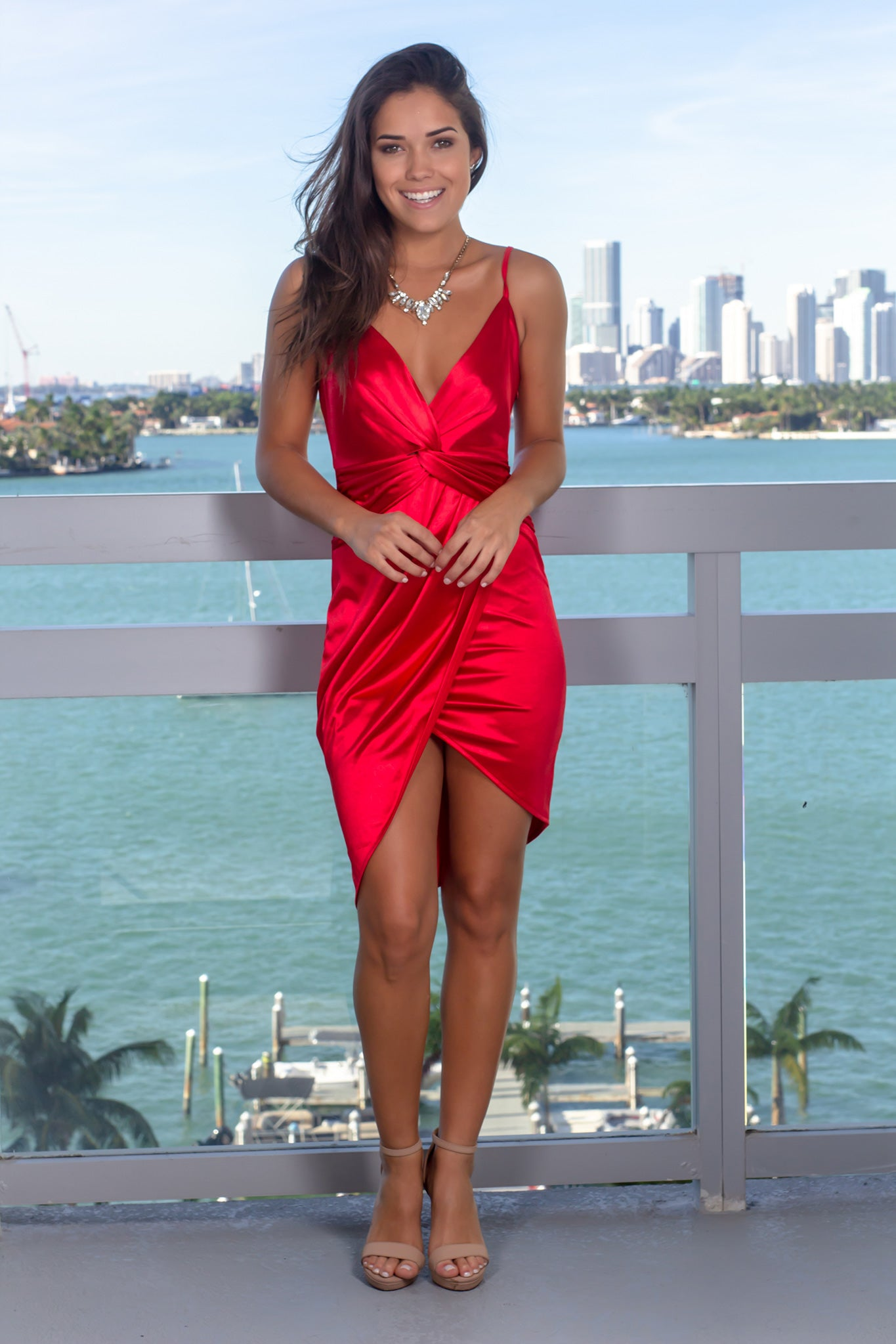 Red Satin Short Dress