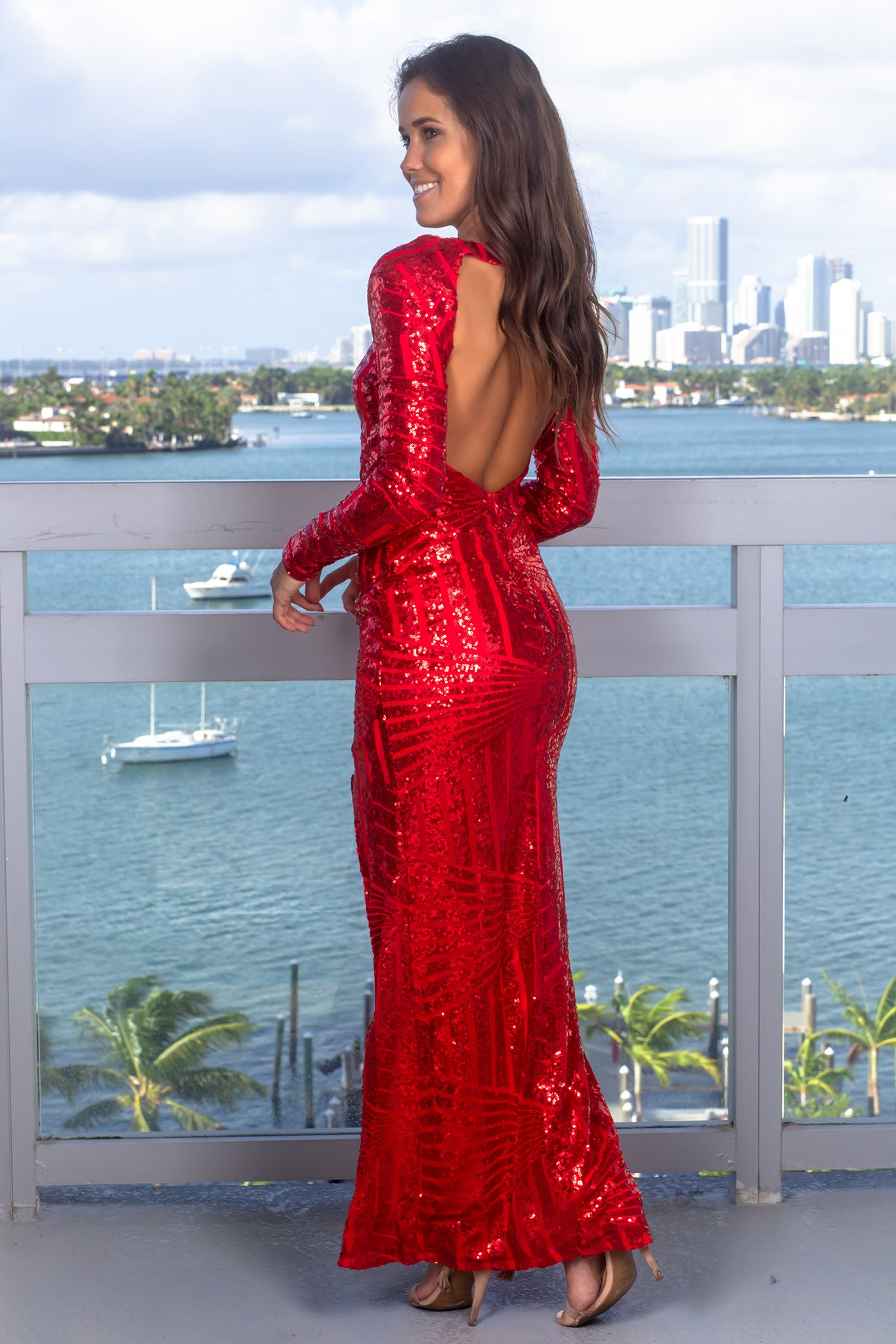 Red Sequin High Low Dress with Open Back