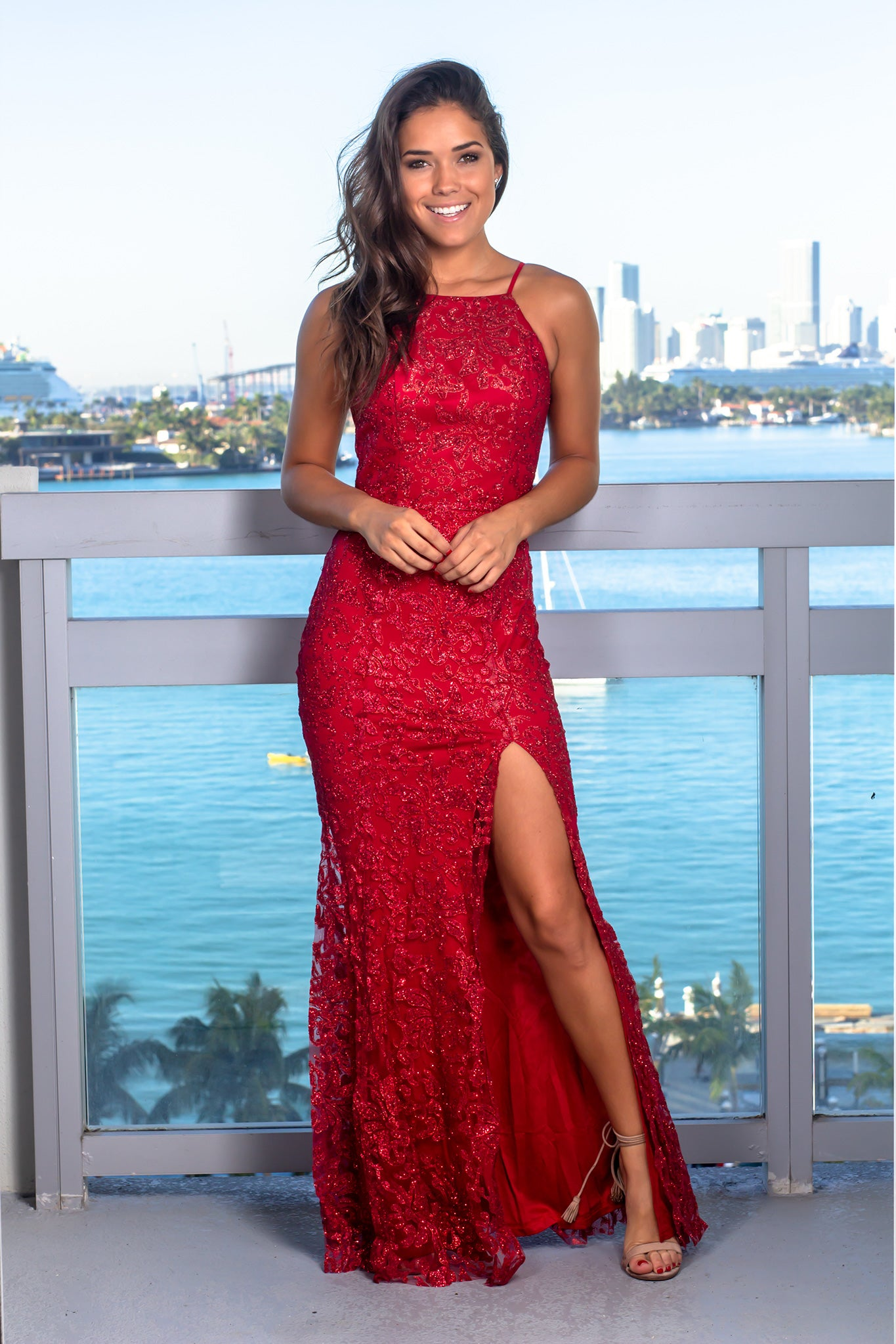 Red Sequin Maxi Dress with Side Slit