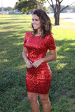 red sequined short dress
