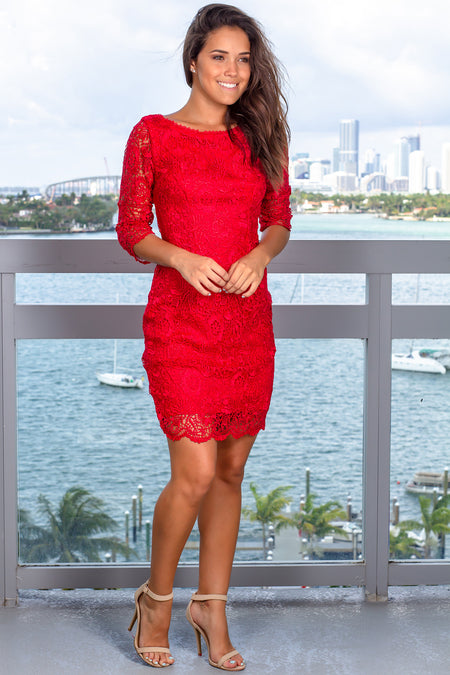 Red Short Dress with 3/4 Sleeves