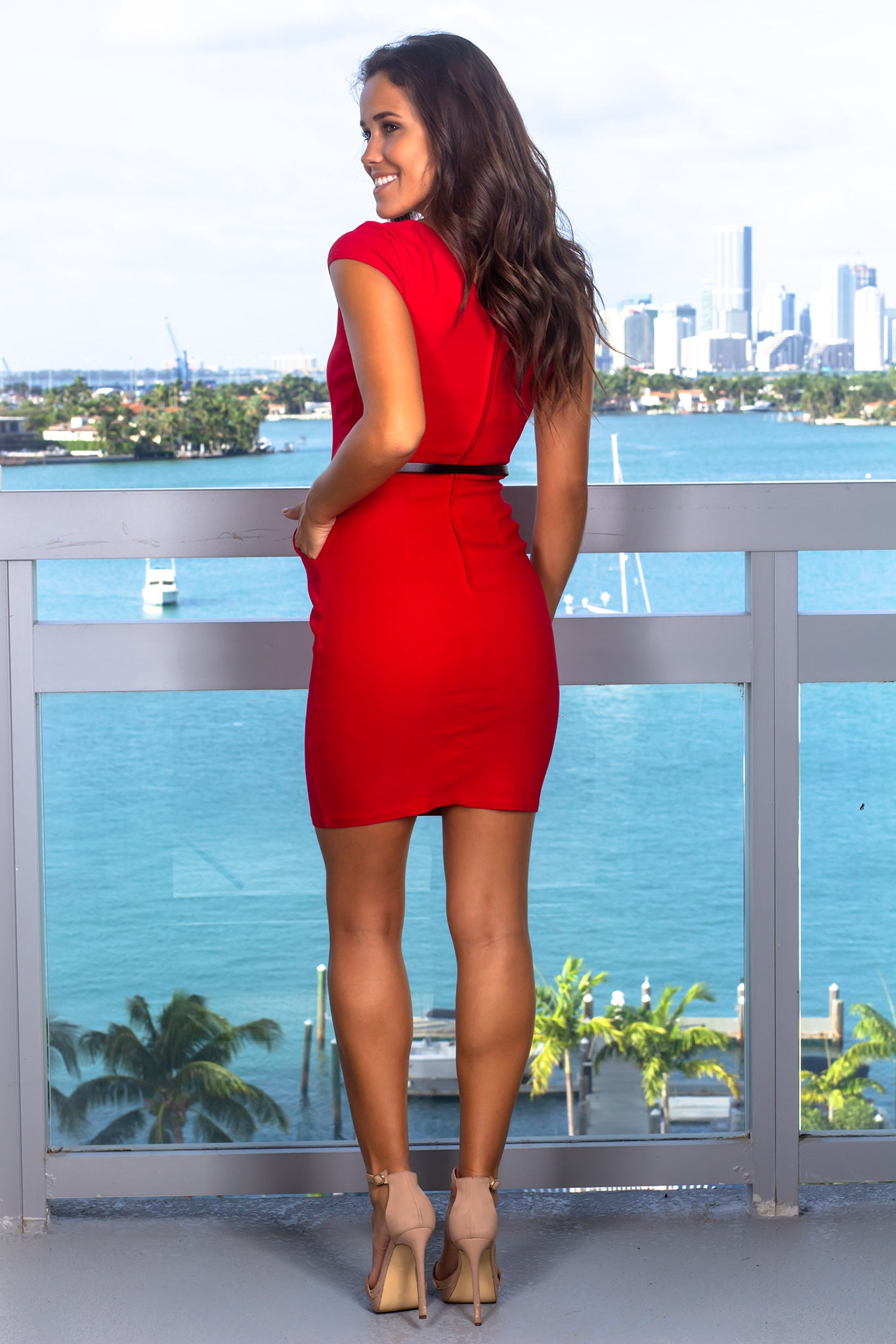 Red Short Dress with Belt