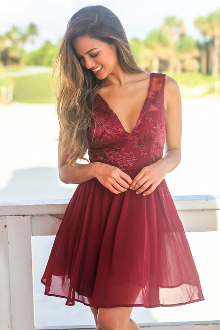 Red Short Dress with Embroidered Top