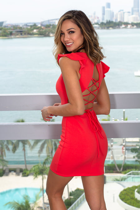 Red Short Dress with Lace Up Back