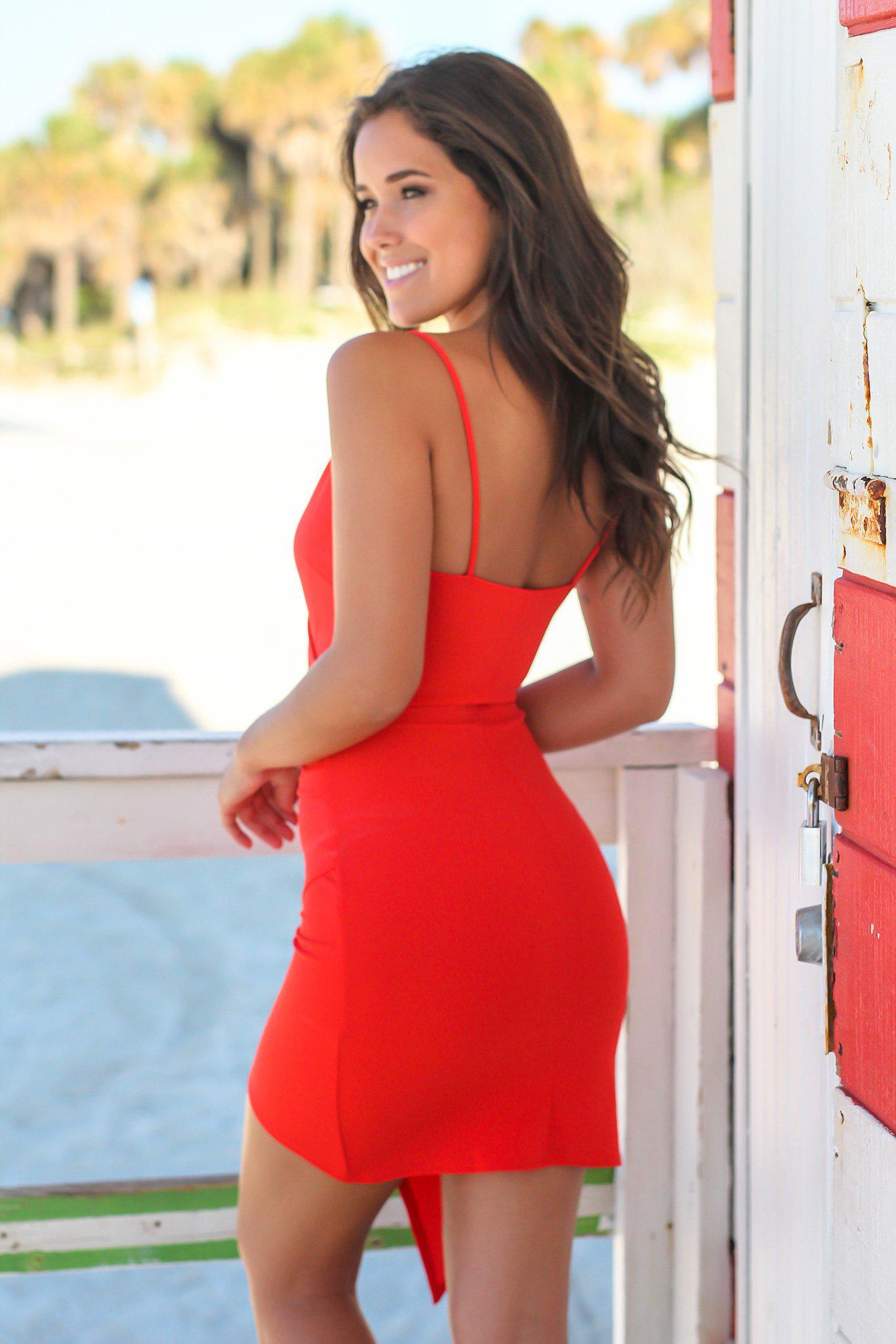 Red Short Dress with Ruched Side