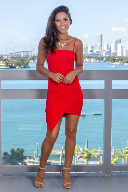 Red Sleeveless Short Dress with Ruched Side