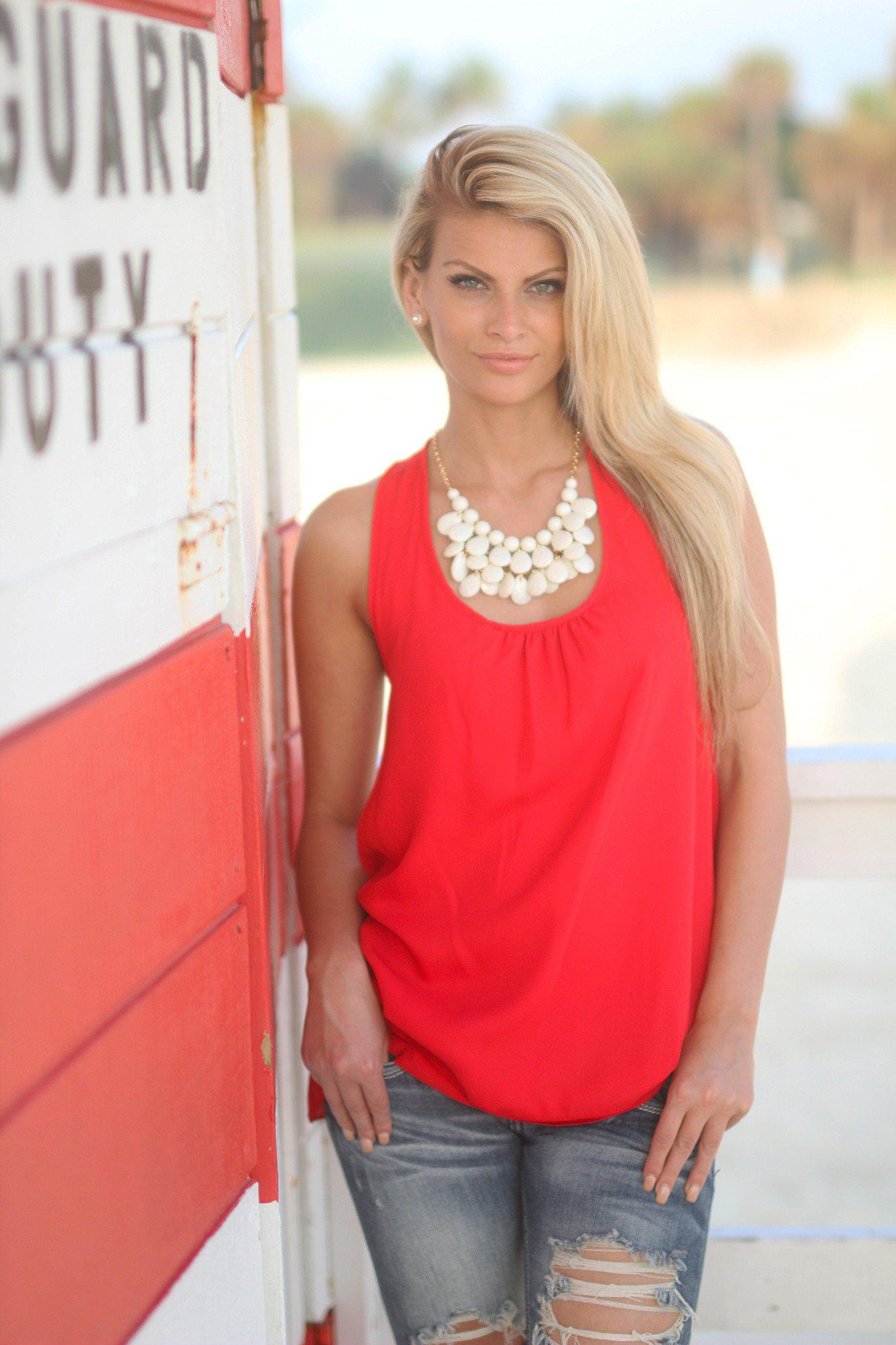 Red Top with Ruffle Racer Back
