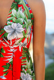 Red Tropical Halter Neck Maxi Dress