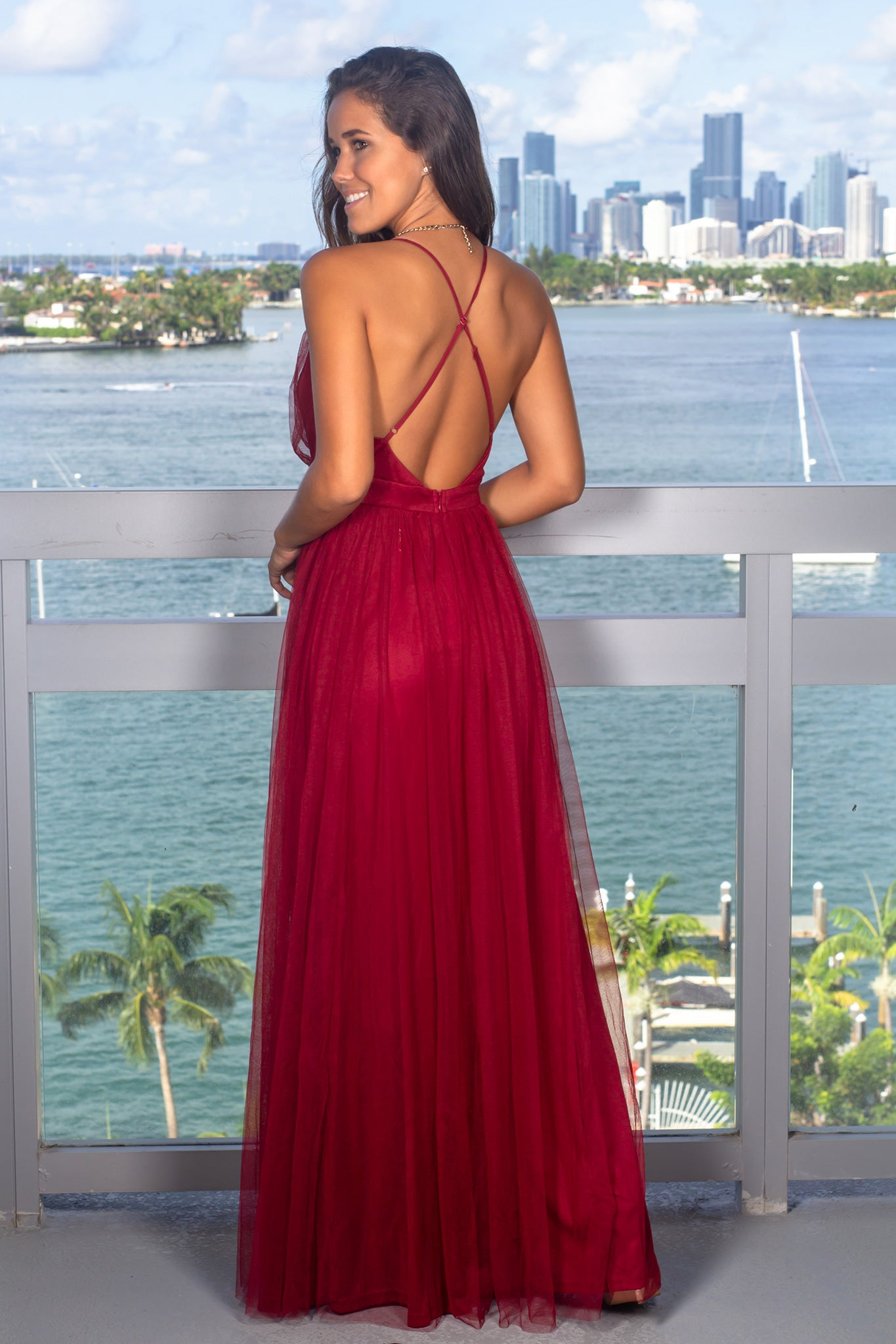 Red Tulle Maxi Dress with Criss Cross Back