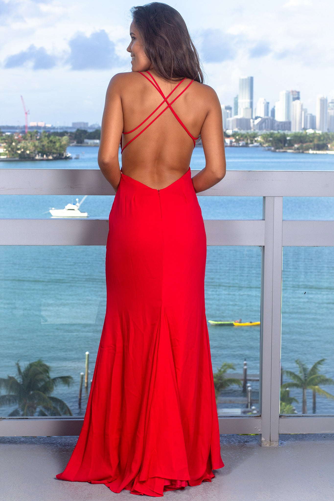 Red V-Neck Maxi Dress with Front Slit