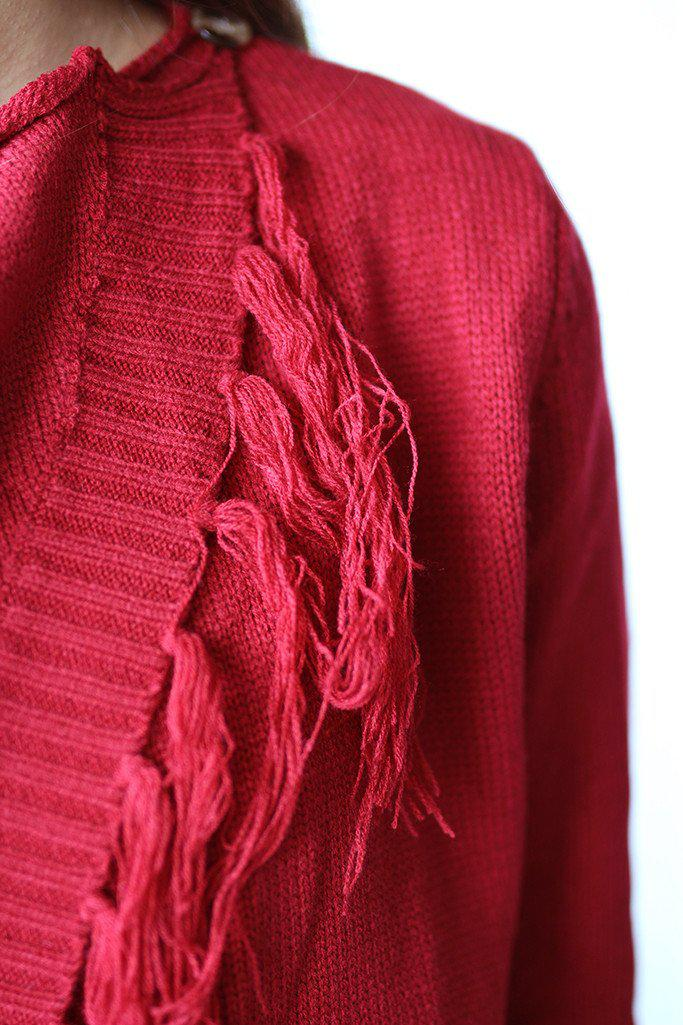 Red Wrap Fringe Cardigan
