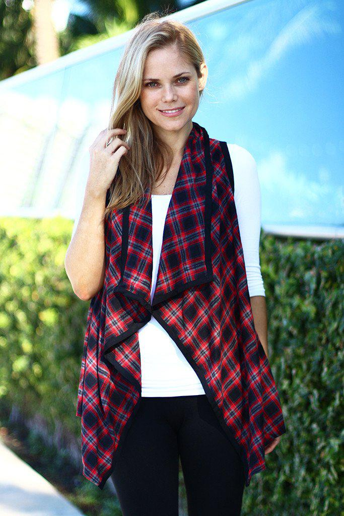 Red and Black Checkered Asymmetrical Vest