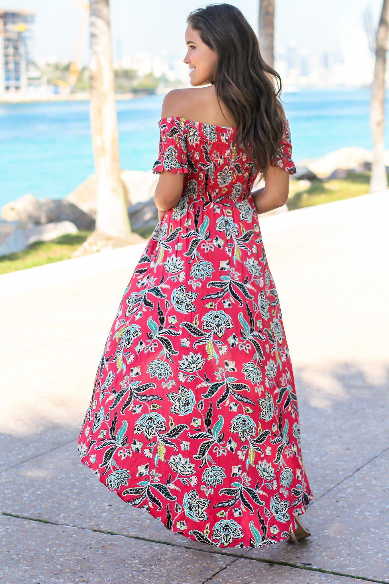 Red and Black Floral Off Shoulder Dress