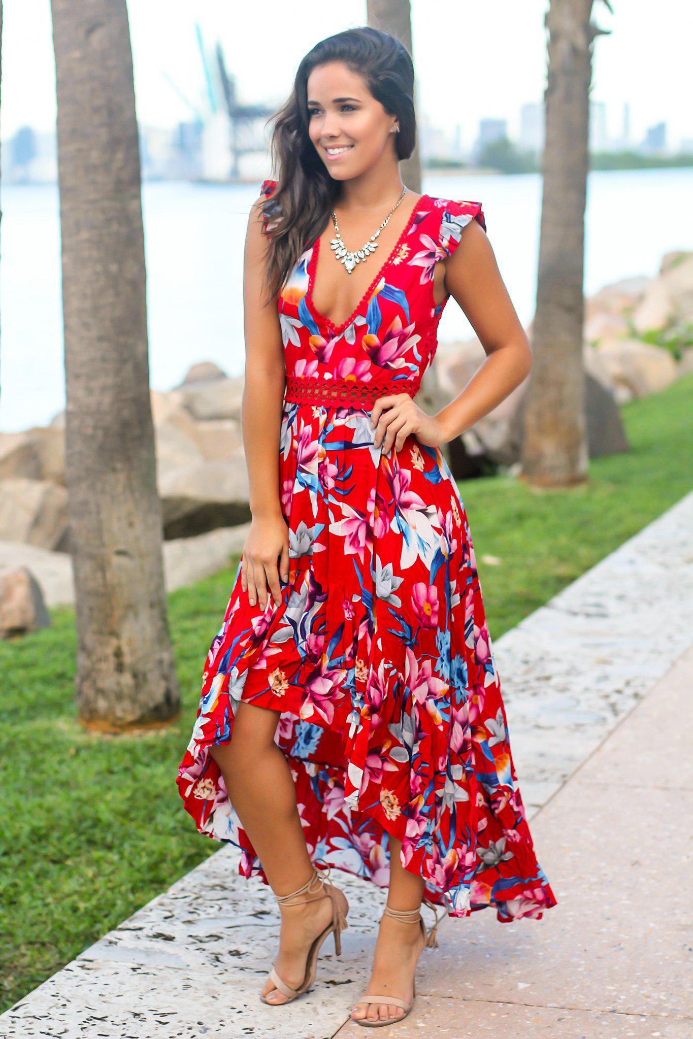 Red and Fuchsia Floral High Low Dress with Crochet Open Back Detail