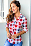 Red and Navy Long Sleeve Plaid Top