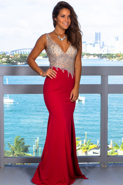 Red And Nude Jeweled Top Maxi Dress With Open Back -3840