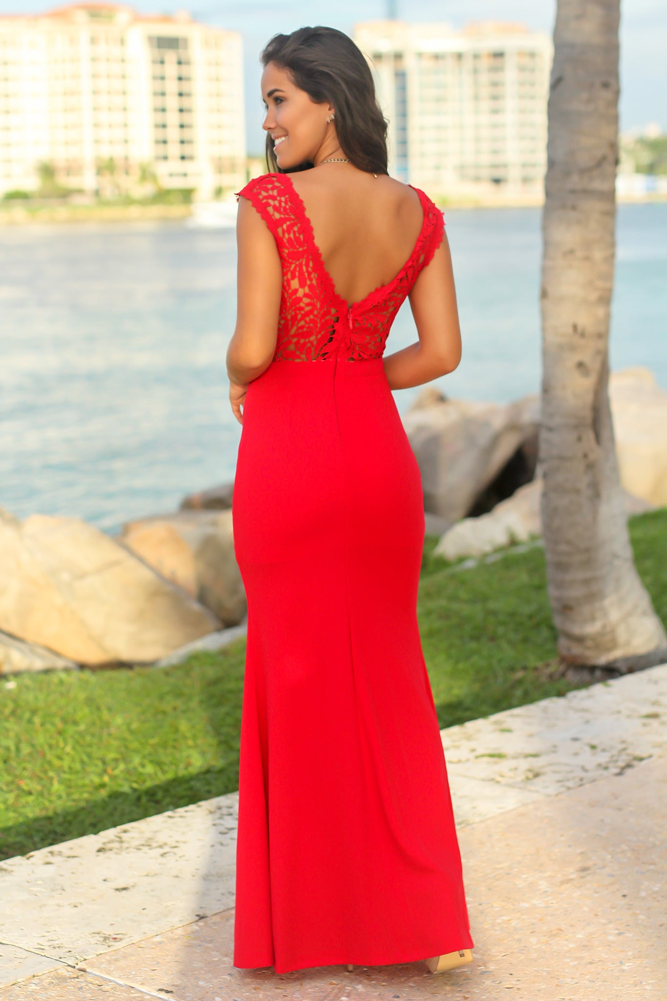 Red and Nude Maxi Dress with Crochet Top and Side Slit