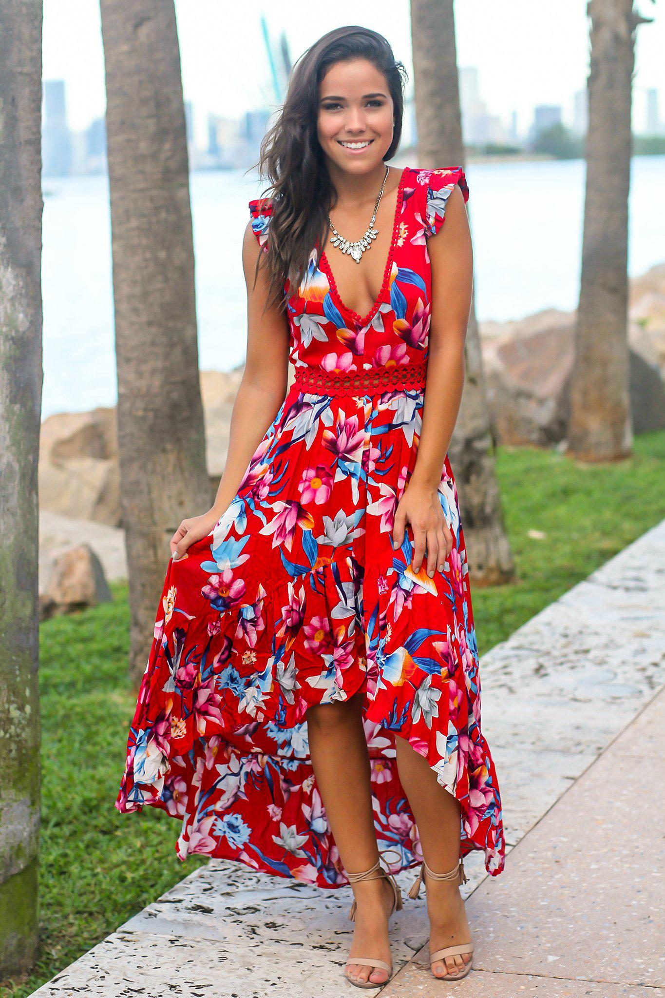 Red and Pink Floral High Low Dress with Crochet Open Back Detail