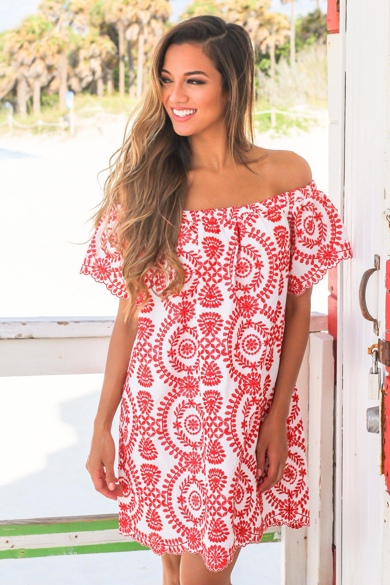 Red and White Off Shoulder Embroidered Short Dress