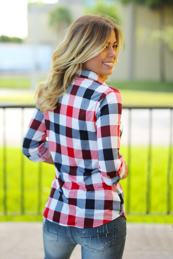 Red and White Plaid Top