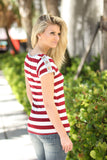 striped burgundy top