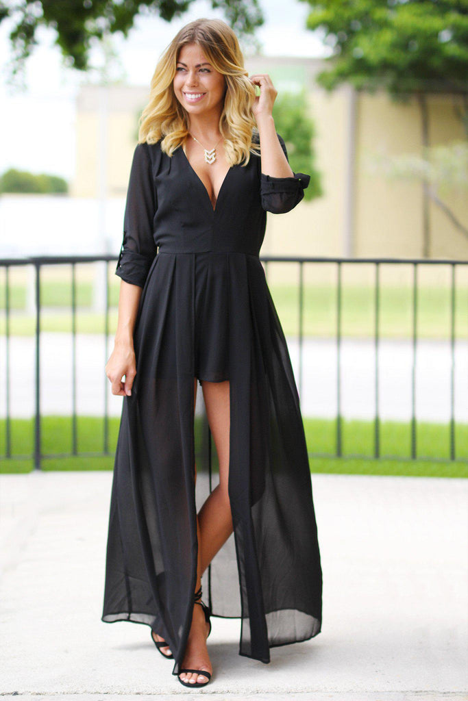 Black V-Neck Maxi Romper