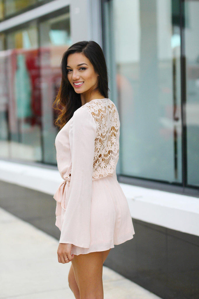 blush long sleeve romper
