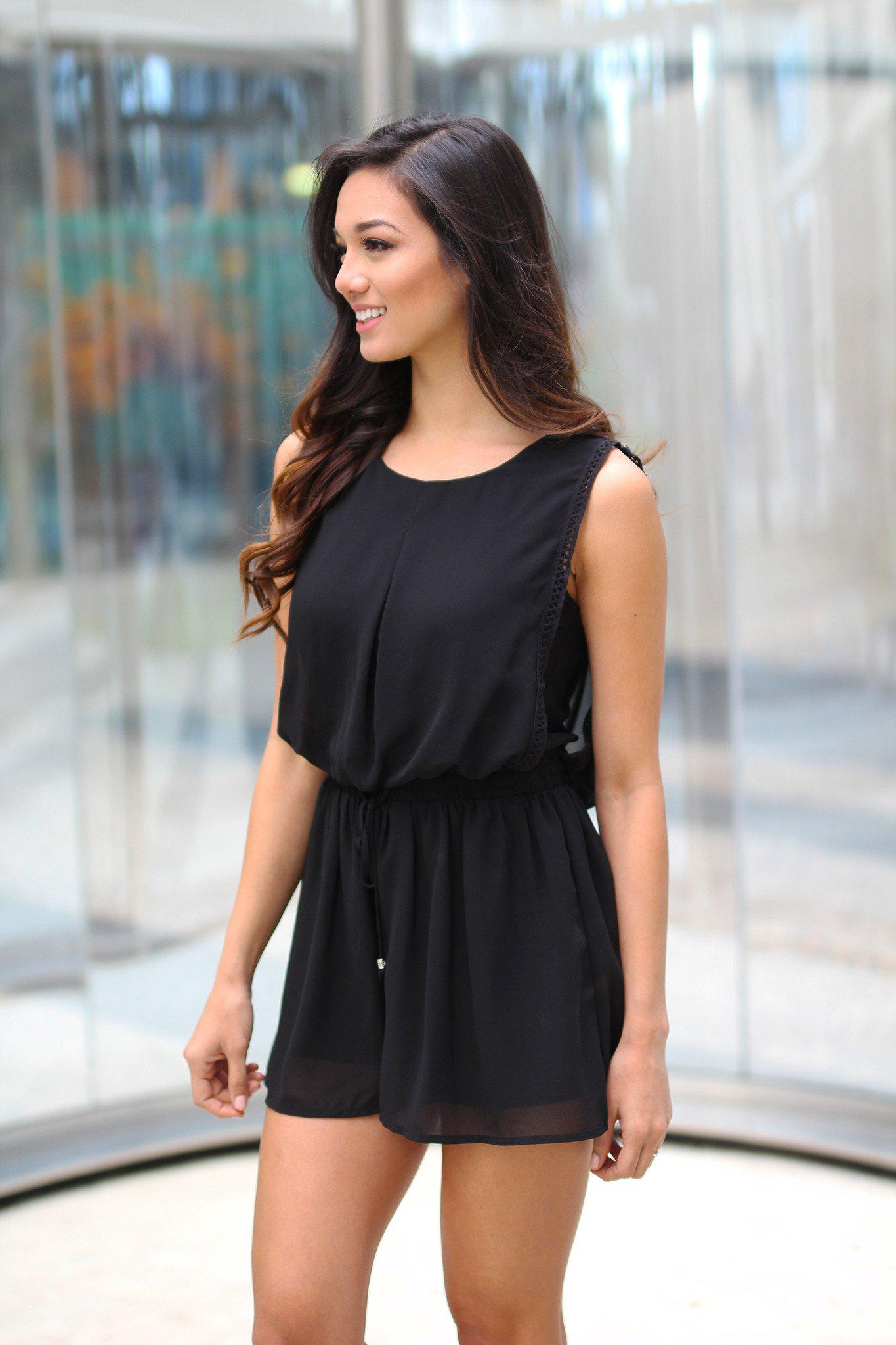 Black Romper with Draped Back